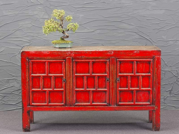 Antikes Sideboard in Rot aus China
